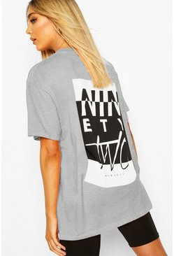 Grey marl Ninety Two Slogan Print T-Shirt