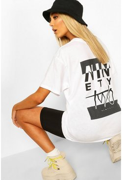 White Ninety Two Slogan Print T-Shirt