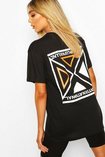 Black International Print T-Shirt