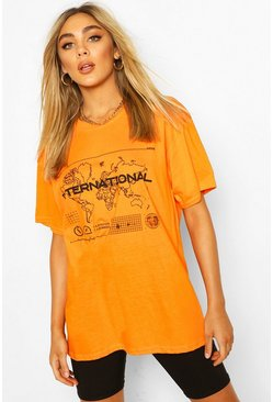 Orange International Graphic Print T-Shirt