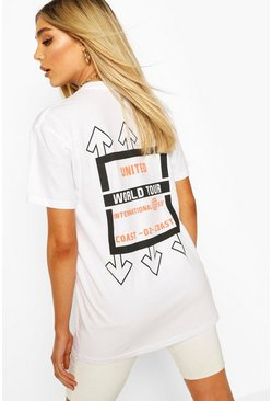 T-shirt con stampa grafica United, Bianco