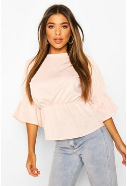 Blush Gathered Sleeve Detail Peplum Top