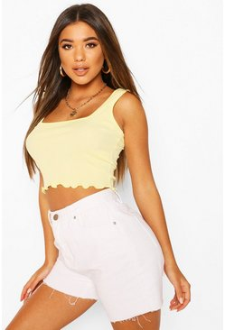 Lemon Lettuce Hem Square Neck Crop Top