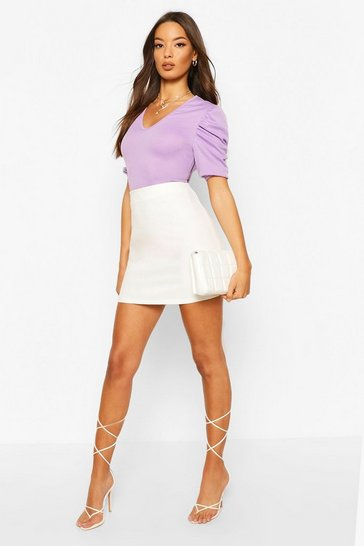 Lavender Ribbed Puff Sleeve V Neck Top