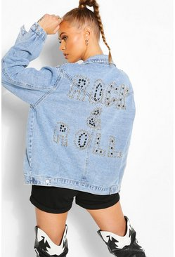 Giacca Rock And Roll in denim con borchie, Azzurro