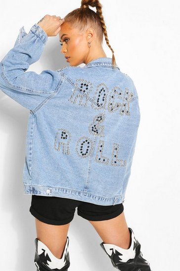 Blue Studded Rock And Roll Denim Jacket