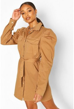Stone Volume Sleeve Cotton Twill Belted Shirt Dress