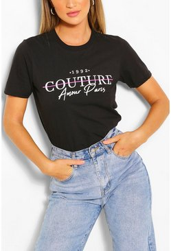 Black Couture Printed T-Shirt