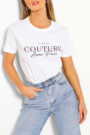 White Couture Printed T-Shirt