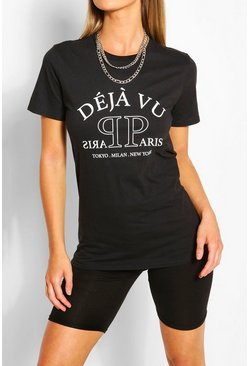 Black Deja Vu Printed T-Shirt