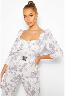 Stone Camo Print Puff Sleeve Top With Deep Cuffs