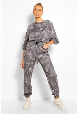 Charcoal Camo Print Cargo Trouser With Belt