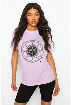 Lilac Zodiac Sun Print T-shirt & Cycling Short