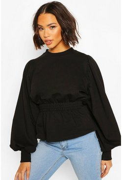 Black Puff Sleeve Shirred Waist Sweat