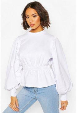 White Puff Sleeve Shirred Waist Sweat