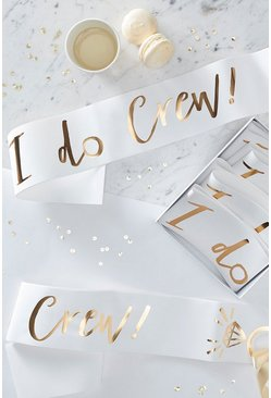 "Ginger Ray Schärpe mit ""I Do Crew""-Print, Gold"