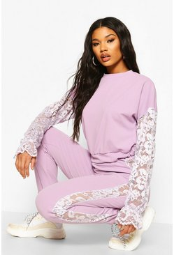 Lilac Lace Insert Crop Co-ord Set