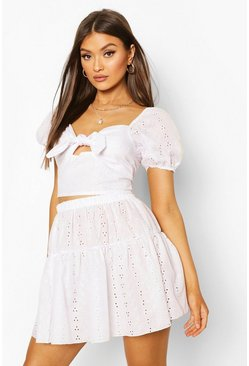 White Broderie Puff Sleeve Top & Mini Skirt Co-ord Set