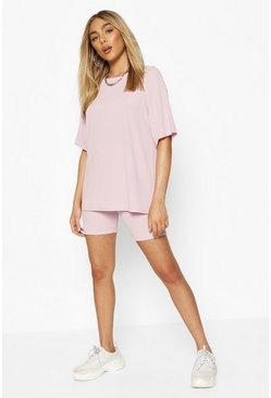 Oversized T-Shirt & Cycling Short Co-ord, Lilac