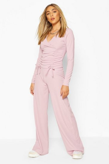 Lilac Ribbed Ruched Top & Wide Leg Trouser Co-ord