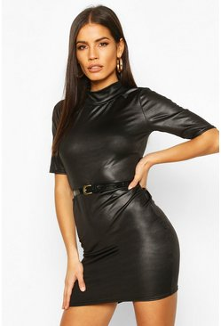 Black Leather Look Mini Dress With Belt