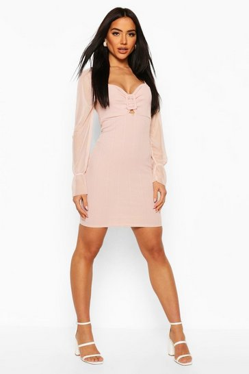 Blush Bandage Mini Dress With Ring