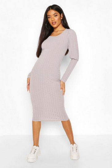 Grey Rib Mini Dress With Deep Cuffs