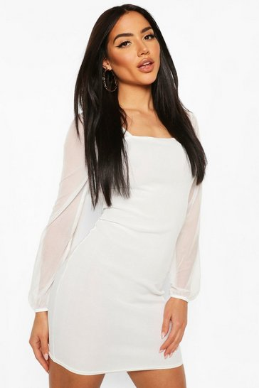 Ivory Rib Mini Dress With Mesh Sleeves