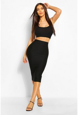 Black Shirred Effect Bodycon Midi Skirt