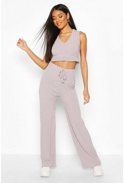 Grey Rib Ruffle Hem Top And Trouser Co-ord