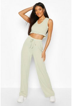 Sage Rib Ruffle Hem Top And Trouser Co-ord