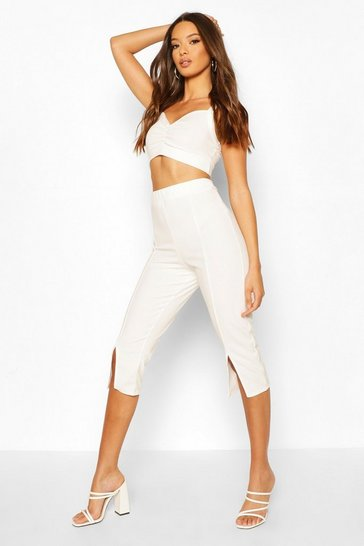White Bralet And Split Front Culotte Co-ord