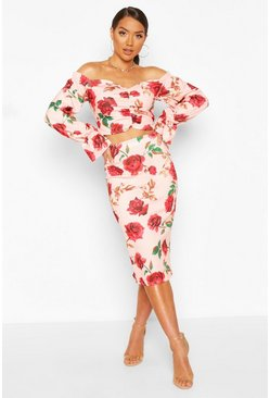 Pink Floral Off The Shoulder Top And Midi Skirt Co-ord