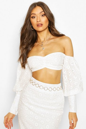 Boohoo Ladies Size 8 White Gypsy Top Off The Shoulder Bardot Long Flared Sleeve