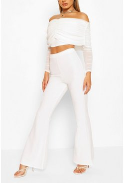 Mesh Bardot Ruched Top And Wide Leg Trouser Co-ord, White