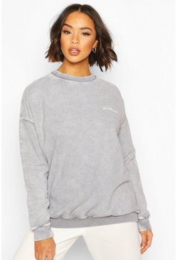 Charcoal Acid Wash Woman Embroidered Sweat