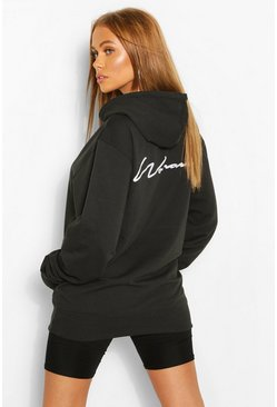 Woman Script Back Print Hoody , Black
