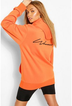 Orange Woman Script Back Print Hoody