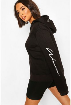 Black Woman Hood Print Oversized Hoody