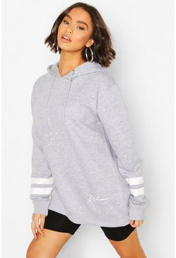 Grey marl Woman Print Sports Stripe Hoody