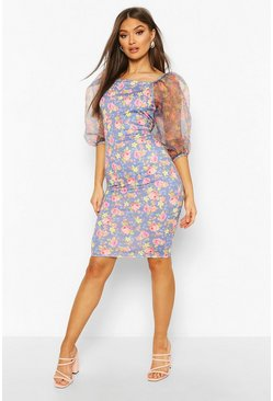Blue Floral Print Organza Sleeve Dress