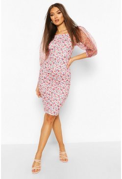Blush Floral Print Organza Sleeve Dress