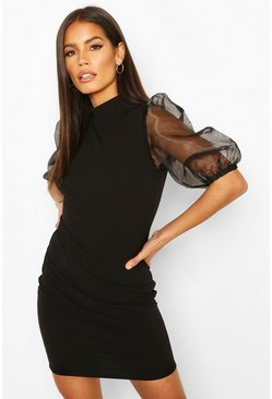 Organza Puff Sleeve Mini Dress, Black