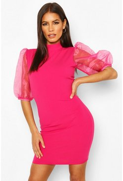 Hot pink Organza Puff Sleeve Mini Dress