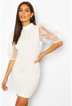Ivory Organza Puff Sleeve Mini Dress
