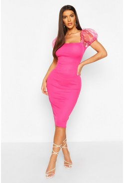 Hot pink Rib Bodycon Midi Dress With Organza Puff Sleeves