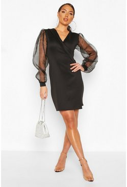 Black Deep Wrap Front Dress With Organza Sleeves