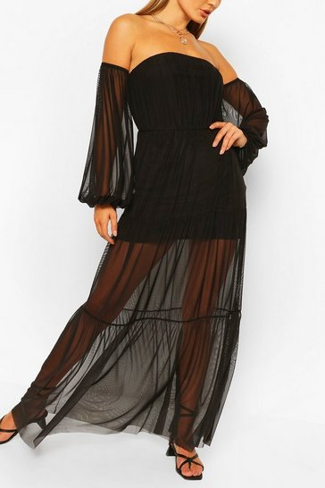 Black Bardot Teired Long Sleeve Maxi Dress