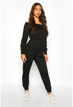 Black Off The Shoulder Long Sleeve Loungewear Jumpsuit