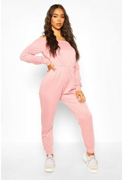 Pink Bardot Long Sleeve Jumpsuit